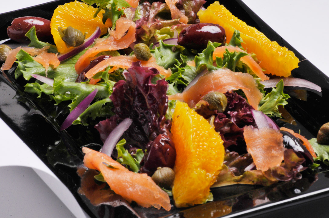 ensalada, healthy, salmon